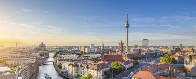 aerial; alexanderplatz; architecture; berlin; berlin mitte; berliner dom; blue; boats; bridge; buildings; capital; cathedral; church; city; cityscape; clouds; downtown; dusk; east berlin; europe; evening; fernsehturm; fischerinsel; german; germany; holidays; landmark; nikolaiviertel; panorama; panoramic; river; road; sky; skyline; skyscraper; spree; street; summer; sunny; sunset; television tower; tourism; tourist attraction; tower; town; traffic; travel; travel destination; trees; tv tower; twilight; urban