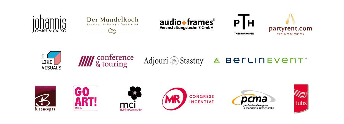 Logos der Partner und Sponsoren des 2. Berlin MICE Summit